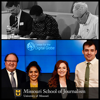 Judges at this year's CDIG student competition, top, had their hands full sifting through an impressive set of entries. Ultimately, Team Missourian won for their strategies designed to address a newspaper's budgetary shortfall. From left, team mentor Les Borgmeyer, students Shraddha Hegde, Emily Rackers and Alexander Starkey.