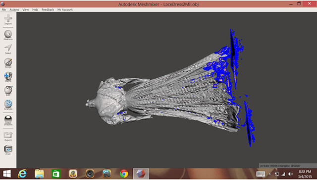 Import Scan data from 3-D Scanner into MeshMixer (or equivalent geometry-fixing software).