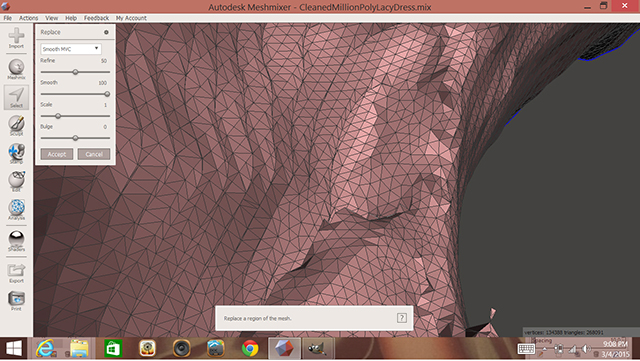 """Selected peaks on the interior of the model are flattened with the """"edit -> erase and fill"""" option or by pressing the F key."""