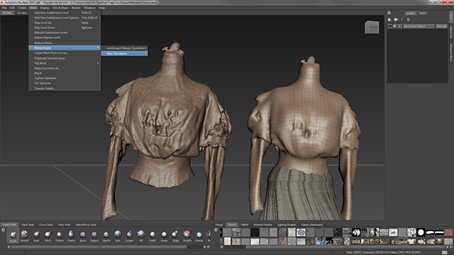The reduced/fixed portion of the model is then brought into Autodesk Mudbox where the geometry is turned from a triangulated mesh into a quad-based mesh