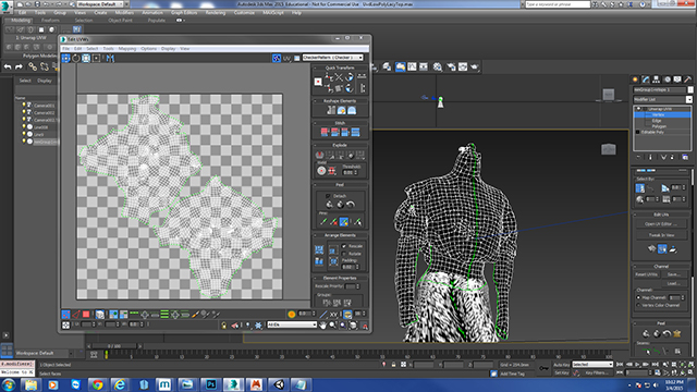 The simplified version of the model is then UV-mapped in 3-D Studio Max.