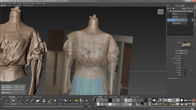 The simplified model's UV map is brought back to Mudbox and photographs can be directly painted on top of the simplified mesh with the Projection tool.