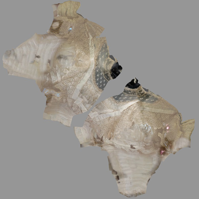 The painted photographs are also mapped onto the model through UV-mapping.