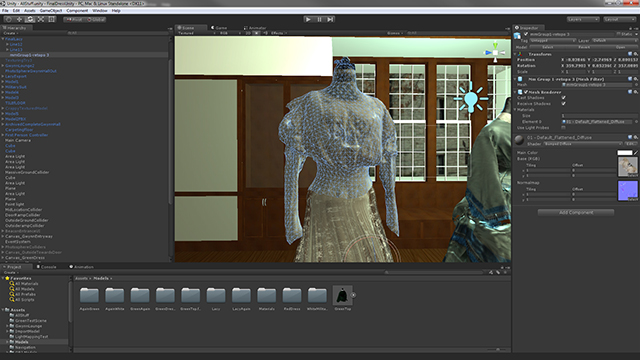 The finalized model being used inside of Unity — a game engine used to create interactive presentations and games.
