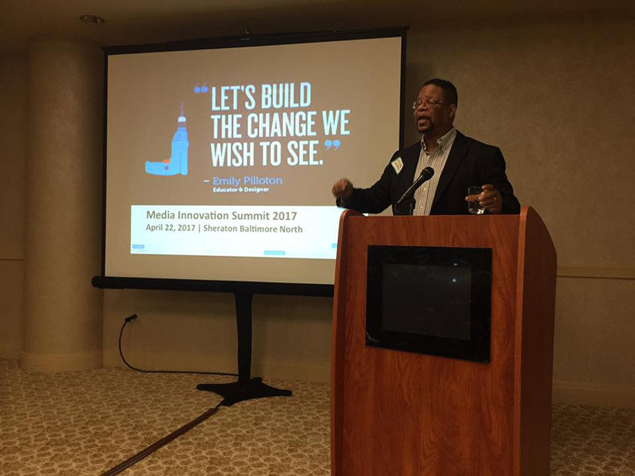 MikeGreenadvocatestheneedforwealthcreationthroughentrepreneurshipduring the Media Innovation Summit in Baltimore.