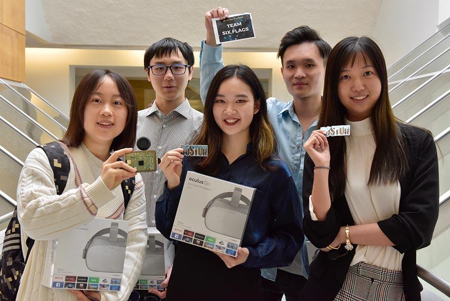 Team Six Flags: left to right: Danting He, journalism; Yongyu Deng, computer science; Ningyuan Hu, journalism; Zhebin Weng, economics; and Yinting Yu, journalism