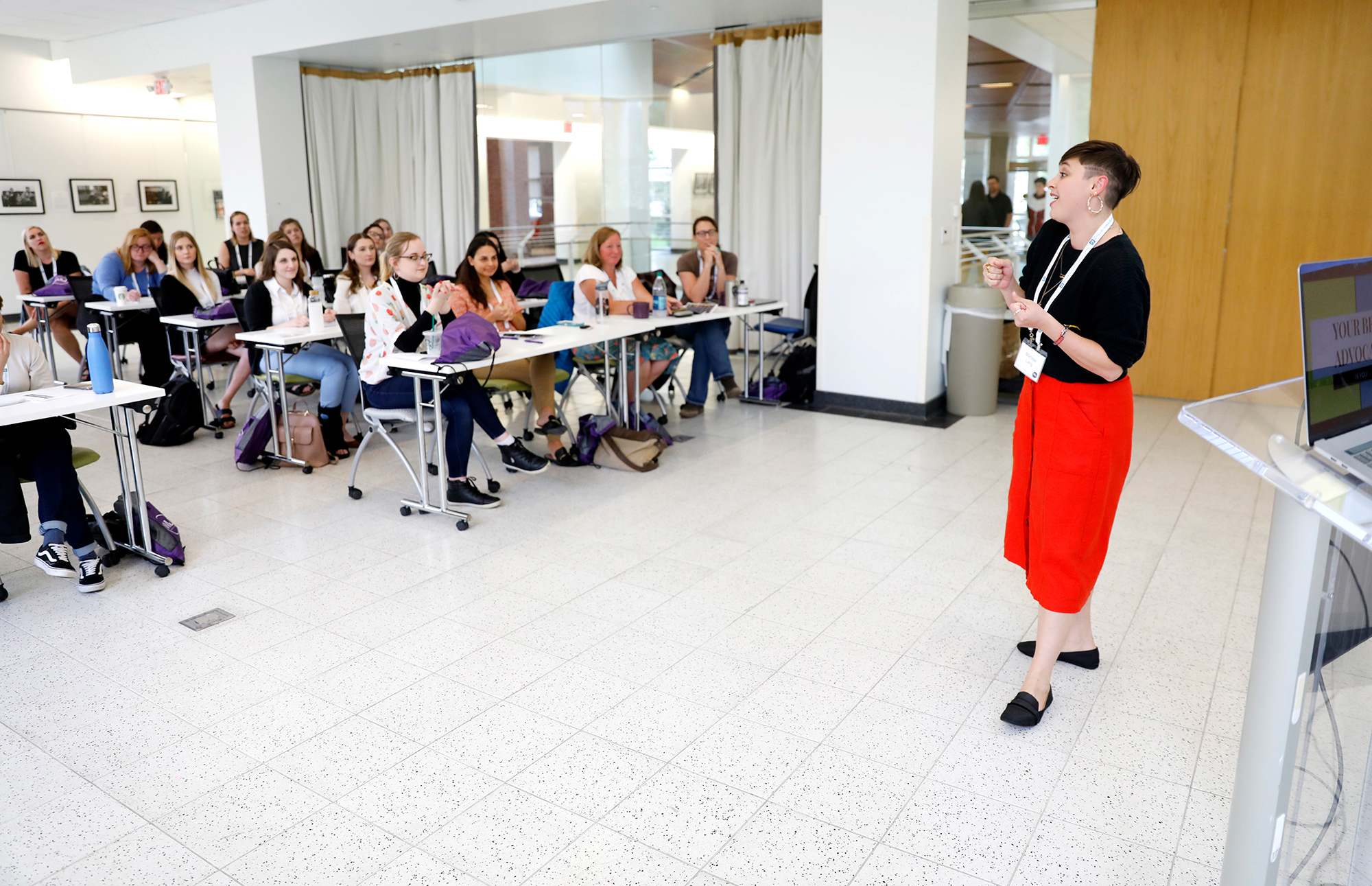Marissa Lang, of the Washington Post, leads a session on advocating for yourself at the Women in Journalism Workshop at the Reynolds Journalism Institute Friday May 3, 2019 in Columbia, Missouri.