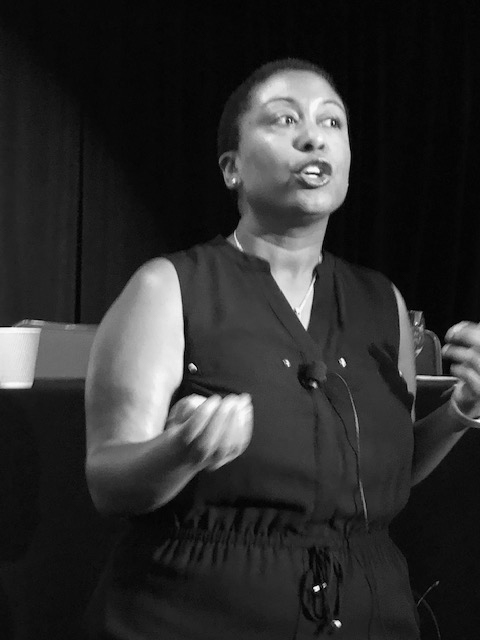 Ebony Reed speaks at the Institute for Nonprofit News' INNDAYS2019 conference June 13 in Houston about how to build strategic campaign frameworks. Photo courtesy of Ebony Reed.
