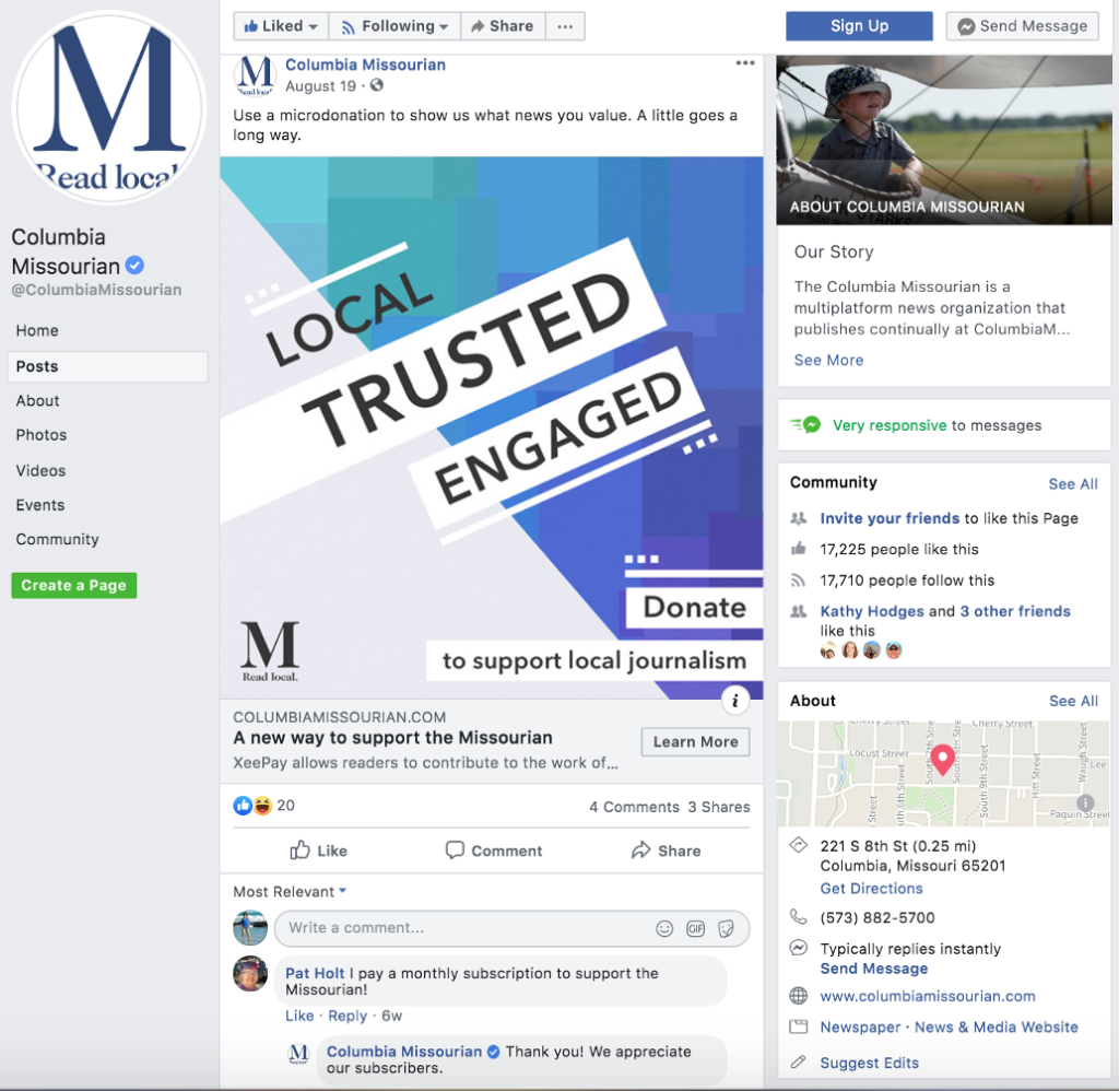 Facebook promotion — screenshot from Aug. 19, 2019