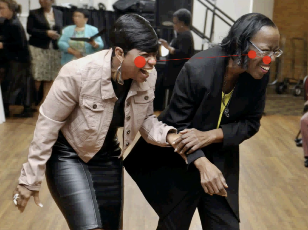 Yolanda Clark and Joe Ann Evans share a laugh as they leave the dance floor after having danced and sang with Marnie Hixon during Marnie's 10th Annual Girlfriends' Gathering at New World Landing. Photo by Bruce Graner