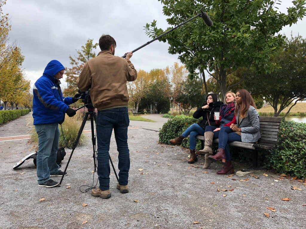 """Adam Schwartz and Luke Porter filming an episode of """"So True, Y'all"""" for It's a Southern Thing in Birmingham, Alabama, with actors Talia Lin, Leah Luker and Gina Miller.  Photo courtesy of Red Clay Media"""