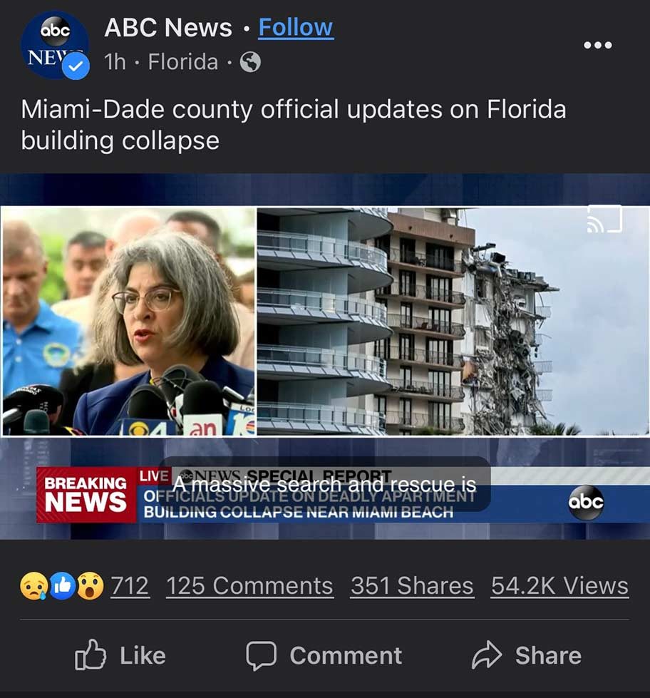 Miami-Dade county official updates on Florida building collapse