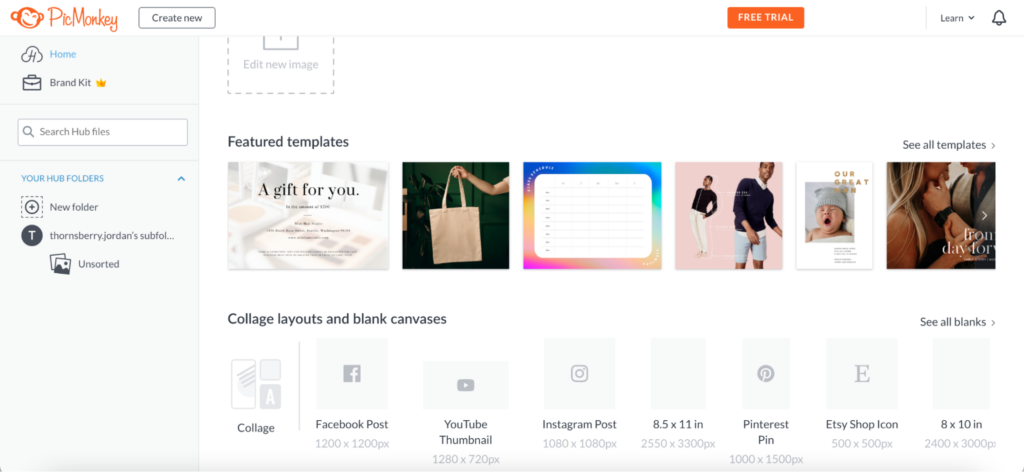 Another popular software among new designers is PicMonkey. It is similar to Canva, but has different templates and more specific layouts for various platforms, such as a YouTube thumbnail, Etsy shop icon, Pinterest pin and Facebook post.